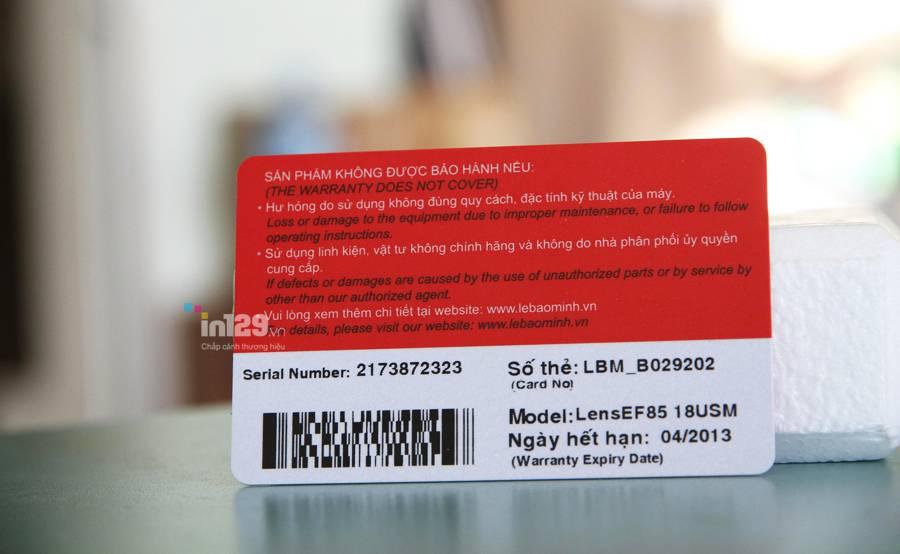 mẫu thẻ bảo hành bằng nhựa