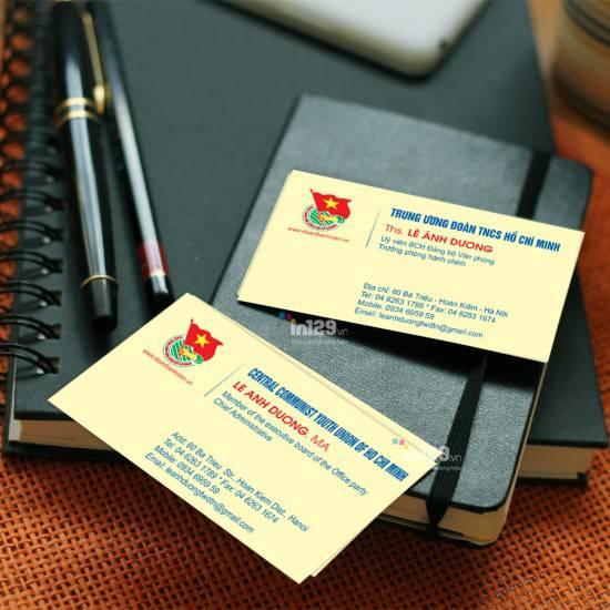 In card visit cơ quan Trung ương Đoàn TNCS Hồ Chí Minh