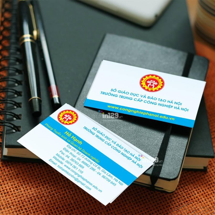 Mẫu name card Trường Trung cấp Công nghiệp Hà Nội