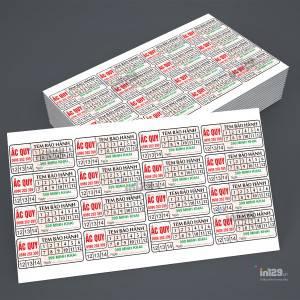 In tem vỡ bảo hành ắc quy cho cửa hàng 399 Minh Khai
