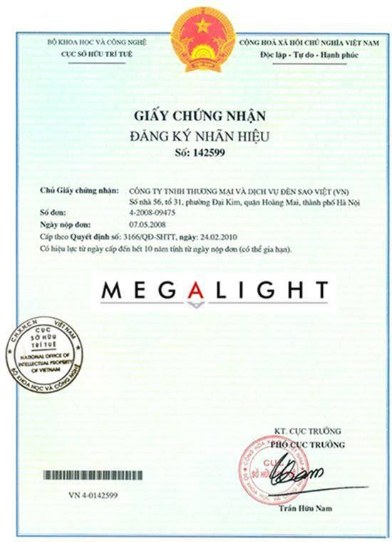 In tem bảo hành thiết bị đèn chiếu sáng Megalight
