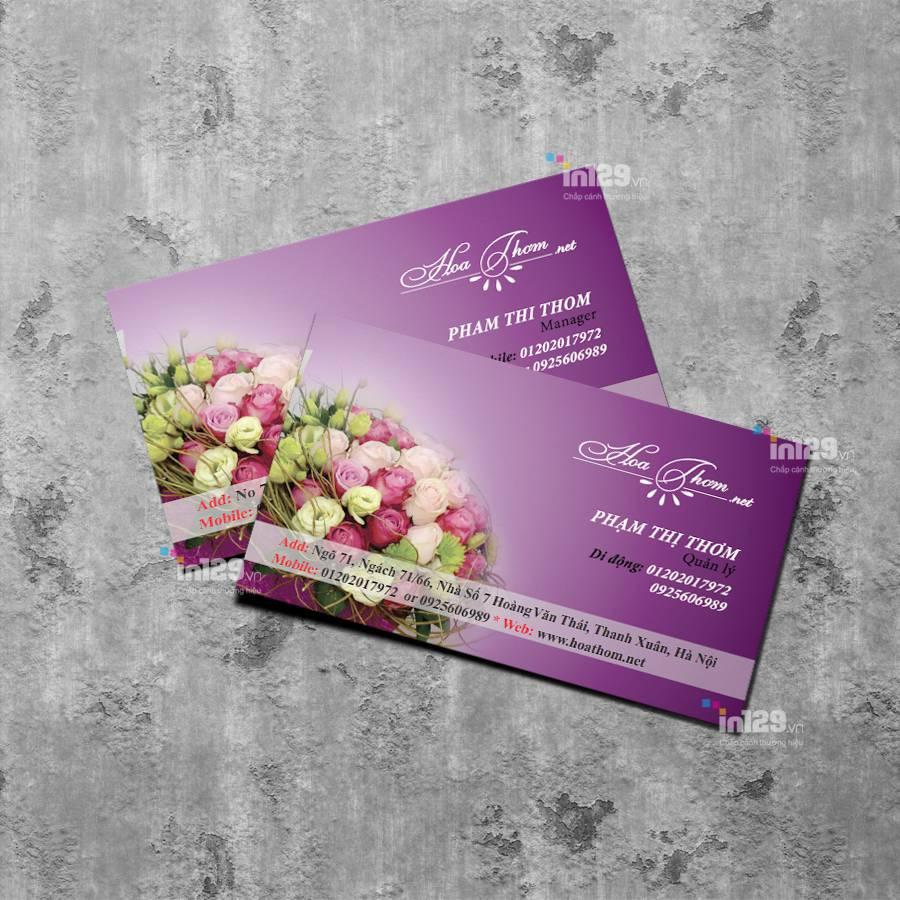 mẫu card visit đẹp cho shop hoa