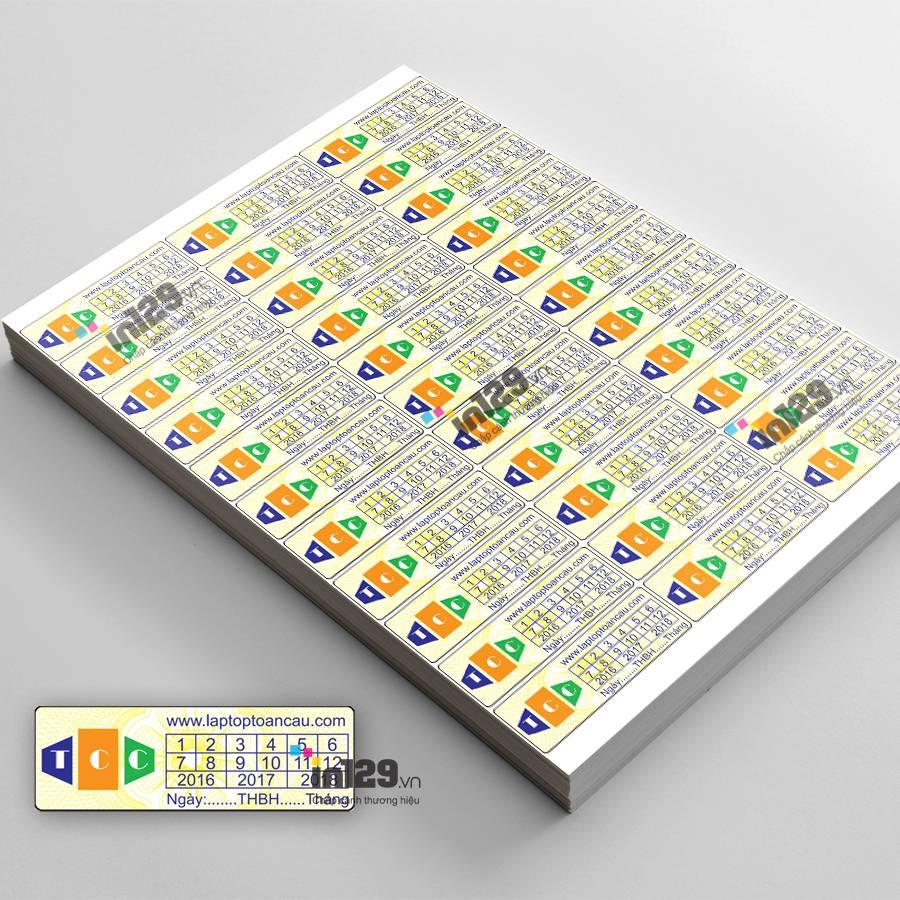 mẫu tem bảo hành máy vi tính đẹp
