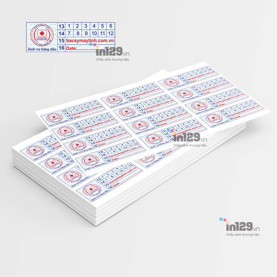 mẫu tem bảo hành linh kiện laptop