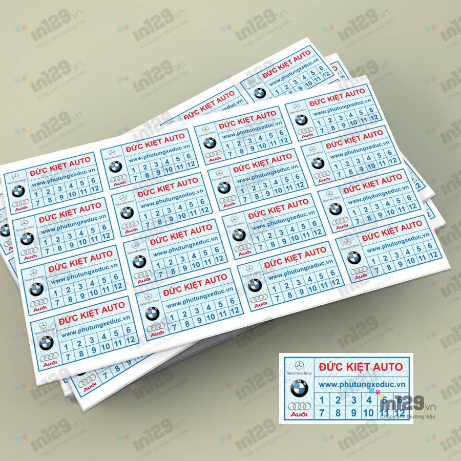 mẫu tem bảo hành phụ tùng ô tô
