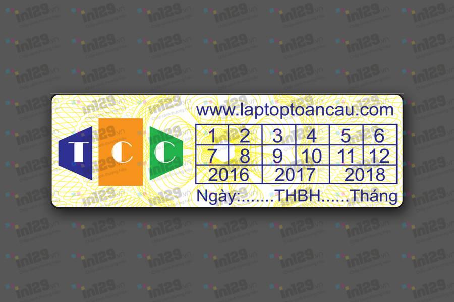 nội dung thiết kế trên tem bảo hành