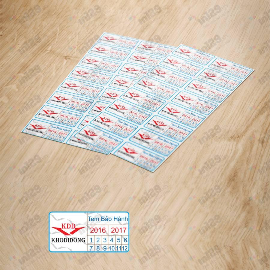 mẫu tem bảo hành di động