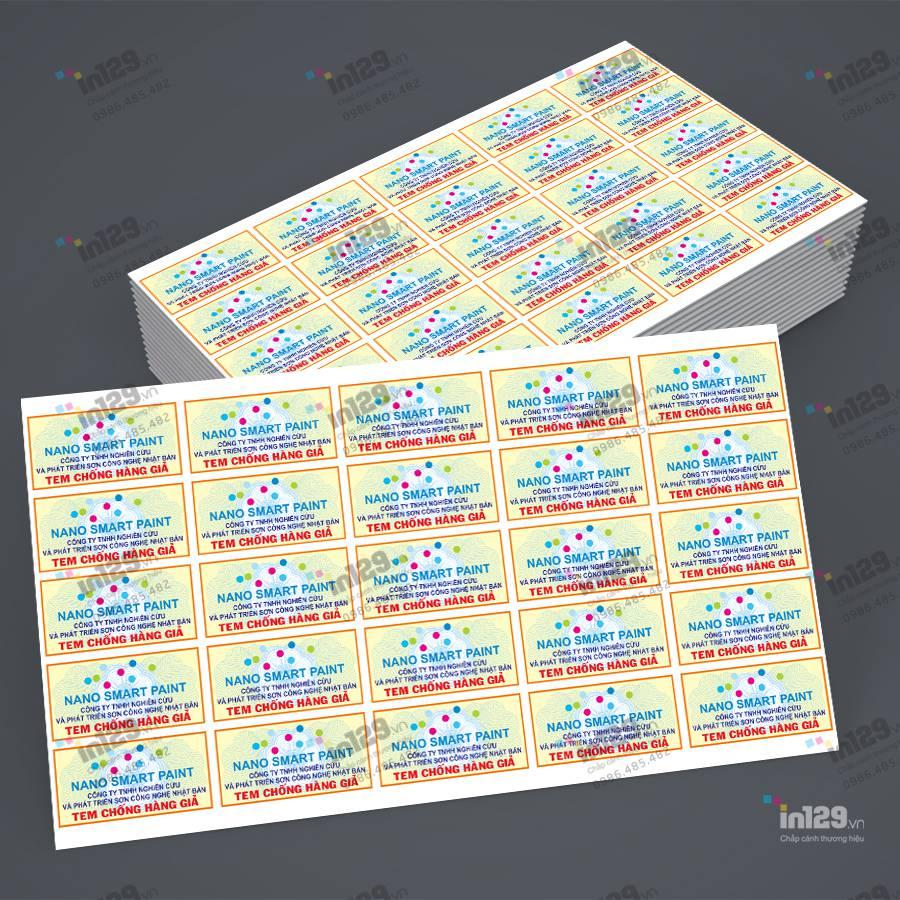 mẫu tem bảo hành sơn