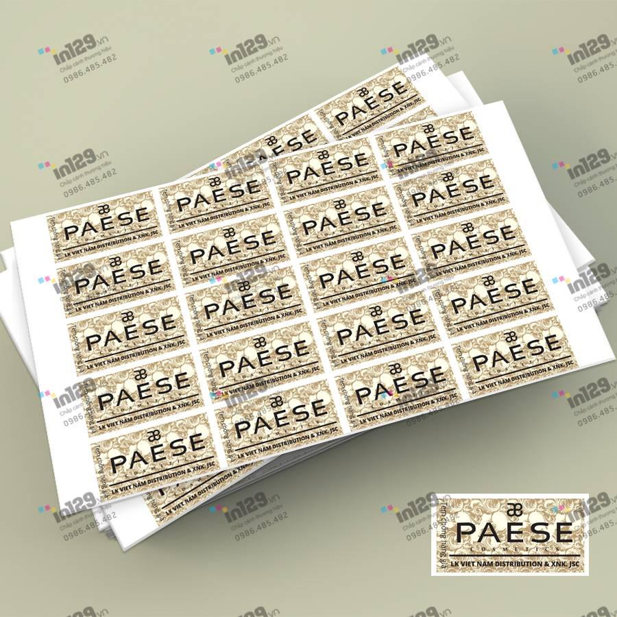 mẫu tem bảo hành mỹ phẩm