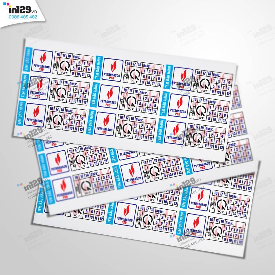 mẫu tem bảo hành ngành dầu khí
