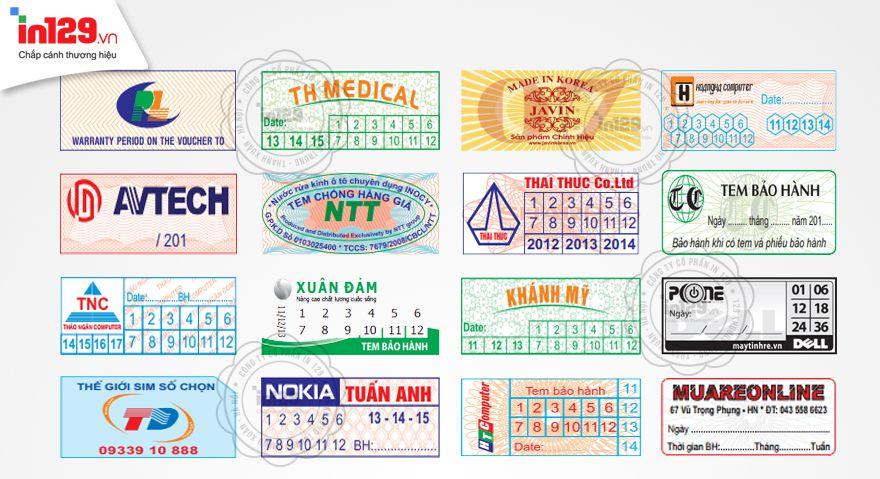 In tem bảo hành đẹp hình dạng chữ nhật