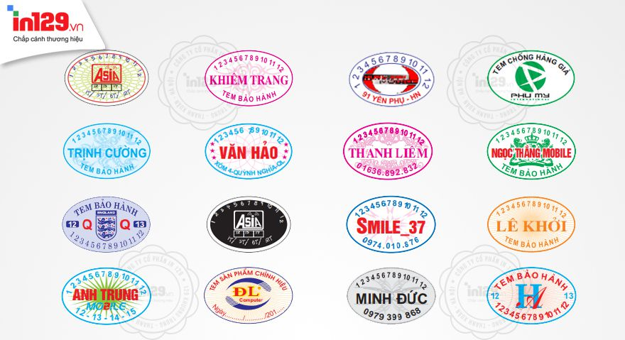In tem bảo hành hình oval