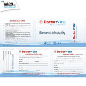 Mẫu phiếu bảo hành sản phẩm thương hiệu DoctorWHO
