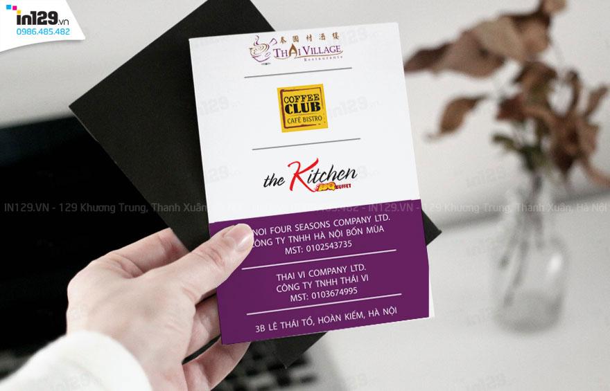 In card visit nhà hàng