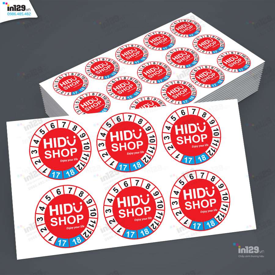 Mẫu tem bảo hành của cửa hàng H2S với kiểu dáng hình tròn