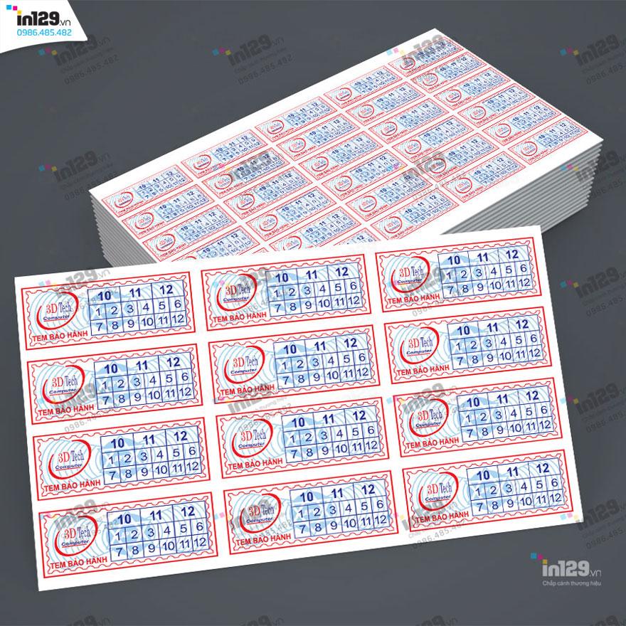 mẫu tem bảo hành laptop