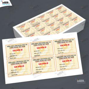 Mẫu tem kiểm kê của Viện Hàn lầm khoa học và công nghệ Việt Nam