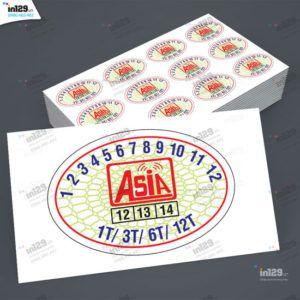 Mẫu tem bảo hành thiết bị mạng Công ty Asia