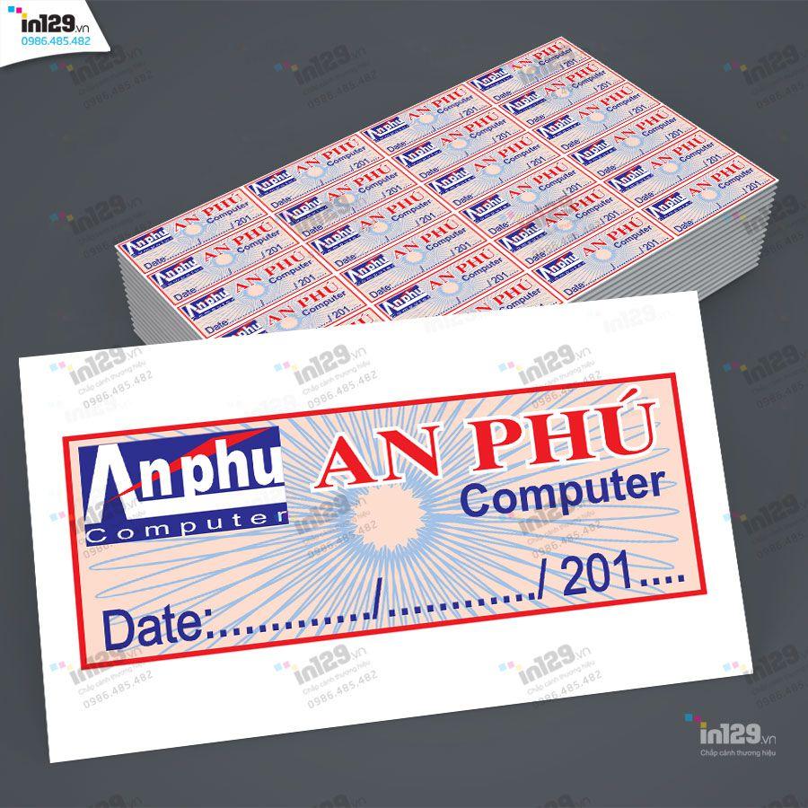 mẫu tem bảo hành máy tính
