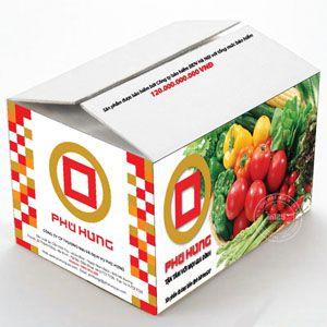 Thiết kế và in thùng carton đựng rau sạch Phú Hưng