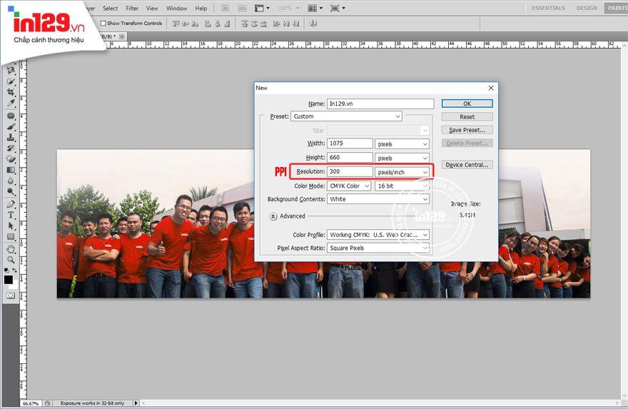 Kích thước thiết kế card visit trong Photoshop
