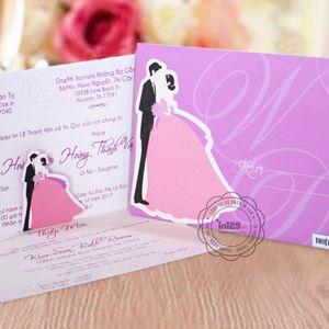 Mẫu thiệp cưới 3D màu tím