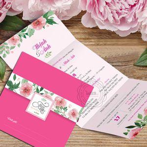 Mẫu thiệp cưới màu hồng