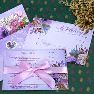 Thiệp cưới sang trọng màu tím