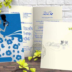 Thiệp cưới xanh mang phong cách hoàng gia