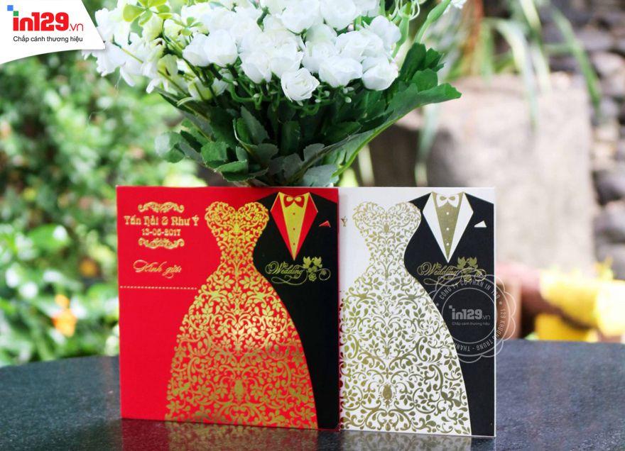 mẫu thiệp cưới họa tiết cô dâu chú rể