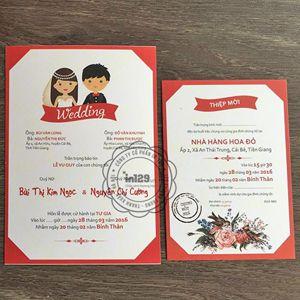 Thiệp cưới hình cô dâu chú rể chibi