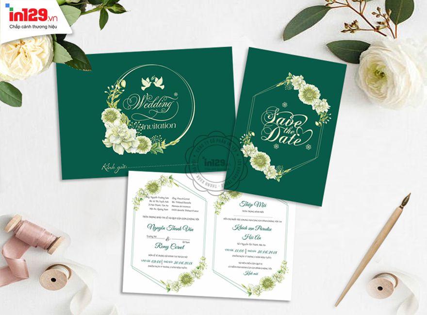 Mẫu thiệp cưới đẹp màu xanh lá cây