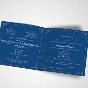 Mẫu thiệp cưới màu xanh dương
