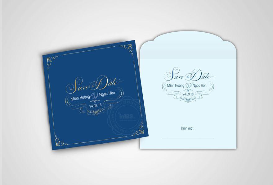 Phong bì thiệp cưới màu xanh dương