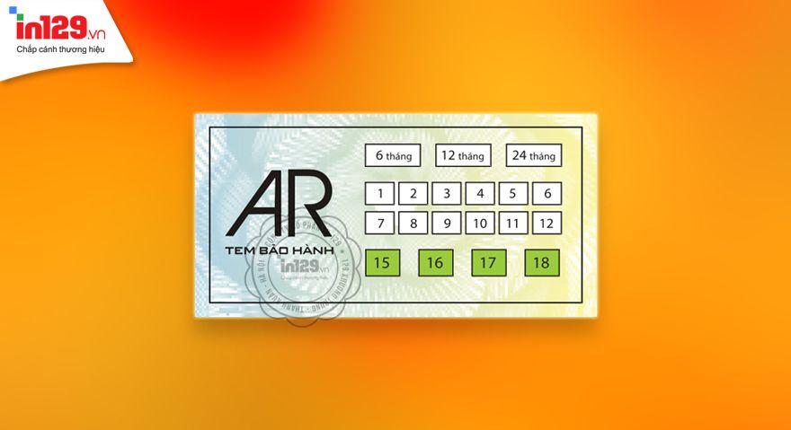 Tem bảo hành hình chữ nhật của AR