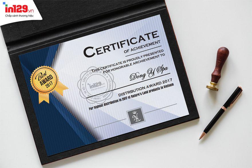 Mẫu certificate của Nature's Land