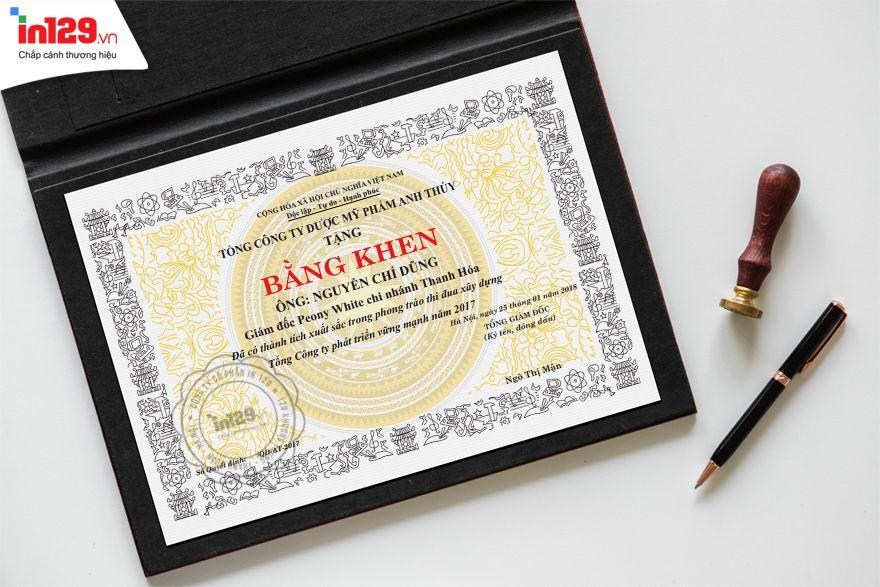 Mẫu giấy khen thưởng nhân viên của Công ty được mỹ phẩm Anh Thúy